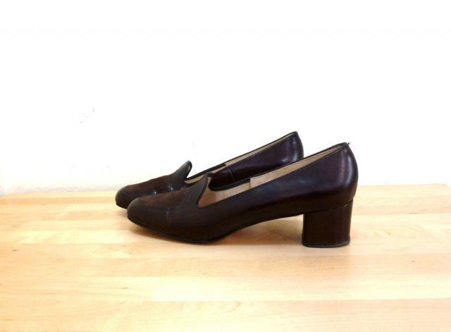 c109573ee95 Vintage Womens Penny Loafers   High Heel Loafers   Brown Pumps   Brown  Leather Heels