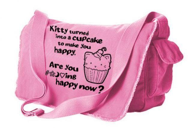 Kawaii kitty messenger bag - pastel grunge bag - sarcastic school 4b8624b59cbd0