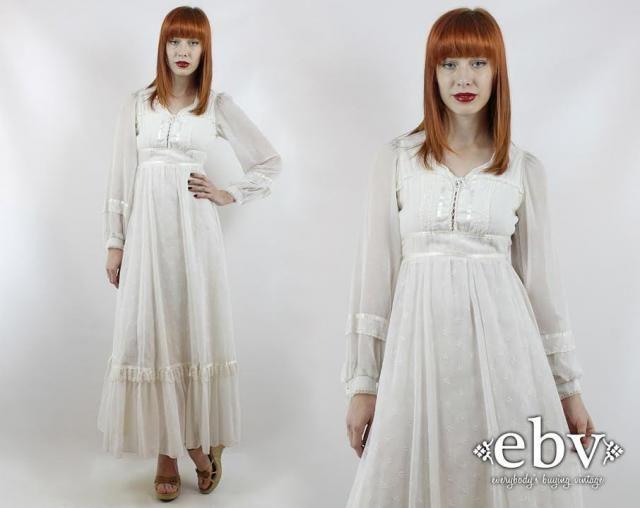 62d43853fbcb Vintage 70s Gunne Sax White Maxi Dress XXS Hippie Dress Hippy Dress Hippie  Wedding Dress Hippy