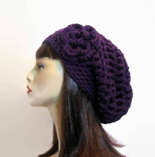 07aa09c70ee08 Crochet Purple Slouchy Hat with flower Crochet Beanie crochet women amp  s  hat Purple Slouchy