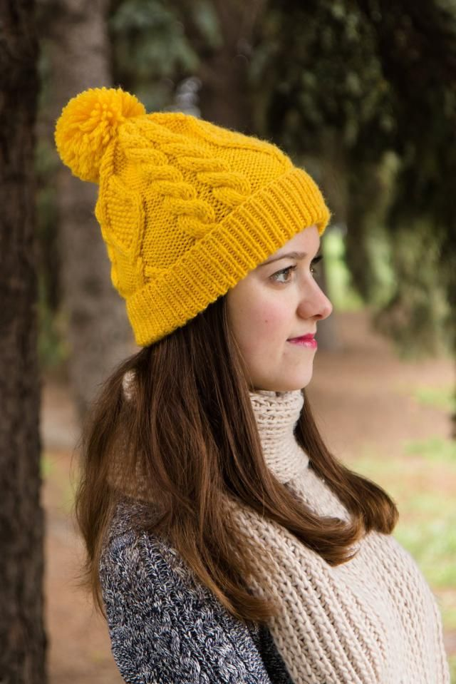 ff7662c9eae Mustard Cable Knit Hat - Winter Beanie For Women - Warm Yellow Pompon Hat -  Yellow