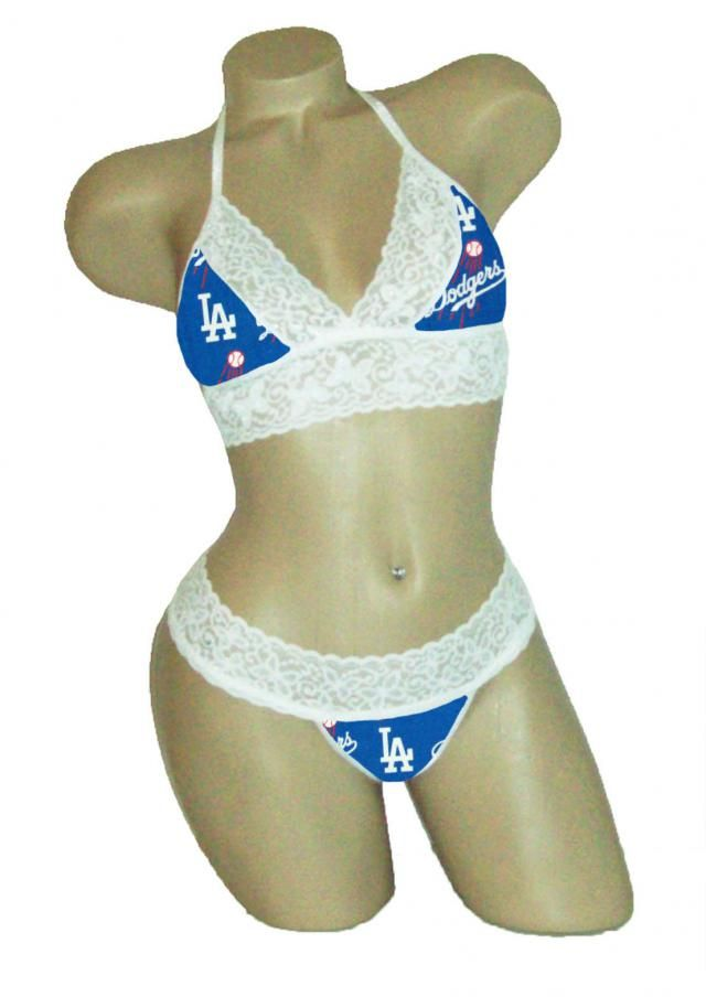 eff6bea13c59 Sexy Los Angeles LA Dodgers Lingerie White Lace Cami Bralette Top and  Matching G-String