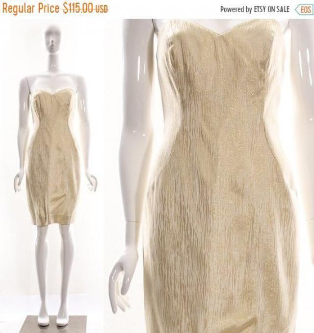 58d99a008d FLASHSALE Vintage 50s GOLD ZEBRA Aj Bari Wiggle Dress Marilyn Monroe Retro  Pin Up Dress Rockabilly