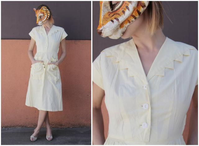 18b310a37ecc Vintage 50s Pale Yellow Day Dress with Ric Rac Zig Zag Collar and Pockets  by Vicky