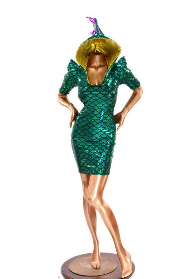 80a2e78c378 Mardi Gras Sharp Shoulder 1/2 Sleeve Green Dragon Scale Bodycon Hoodie DRESS  w/