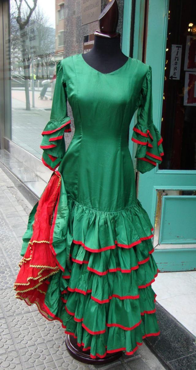 7675b7ec111 Very Antique Spanish Flamenco Dress  Ruffle Dress  Gypsy Dress Vintage   Dress Costume