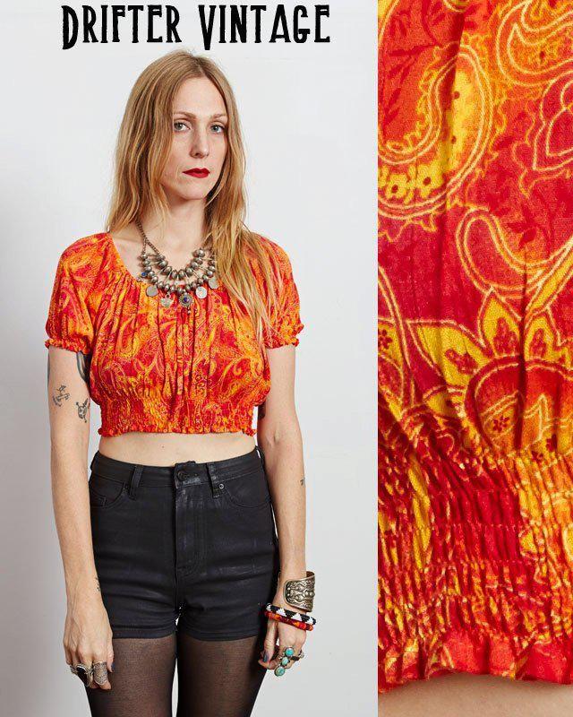 8c07f7422dc Vintage 80s BOHO festival paisley soft cropped CROP TOP tshirt