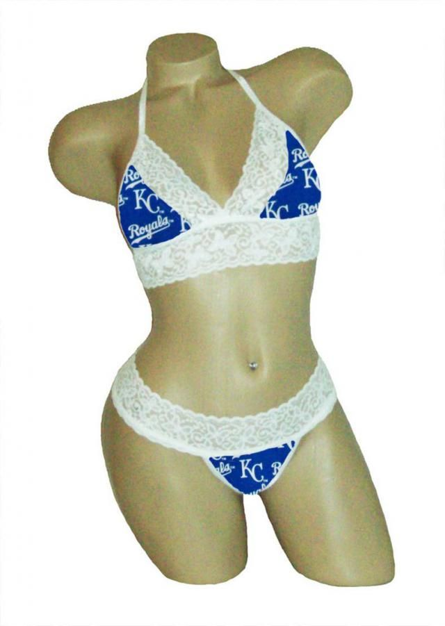 6ae1fbcf1d6 Sexy Kansas City Royals Lingerie White Lace Cami Bralette Top and Matching G -String Panties