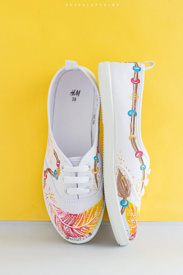 Women Shoes Slip on Canvas Shoes Skate Sneakers Squirrel Floral and Feathers Plimsoll Awesome
