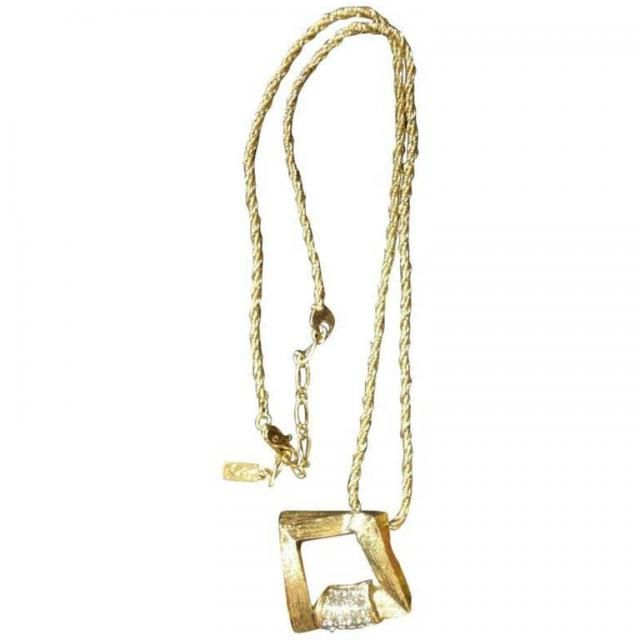 cdee9bb095d5be Vintage Yves Saint Laurent, YSL skinny chain necklace with outlined square  pendant top