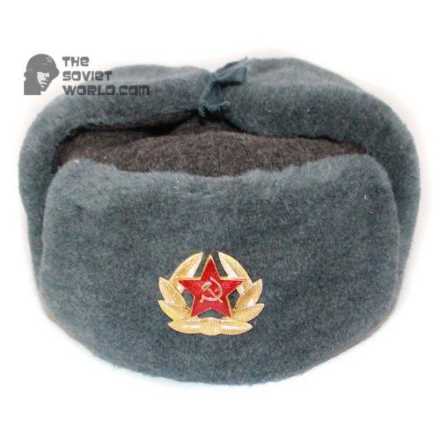 7fb1758f544c3 Russian Army Soviet military original vintage fur winter Sergeant s trapper hat  Ushanka earflaps