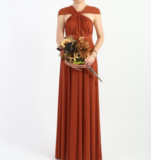 1fe0679f2df Rust Burnt Orange Floor Length LONG Ball Gown Maxi Infinity Dress  Convertible Formal Multiway Wrap Bridesmaid