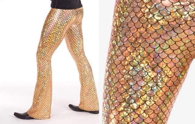 baae2c6fcbb16 Gold Disco Fish Men&;s Flare Pants // Iridescent Metallic Mermaid  Costume /