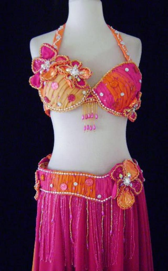 4dd20f8926b0 Custom Polka Dot Glitter Beaded Flower belly Dance Costume Professional