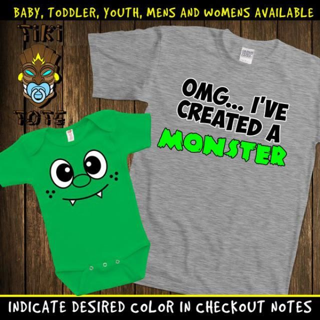 9de5aaab Funny I&;ve Created A Monster Matching T-shirts Cute Family Gift Set