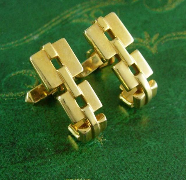 943fcd905d68 Vintage Wrap stirrup Cufflinks cable link Golden Color Signed Swank  Business Fathers Day Birthday cool mens