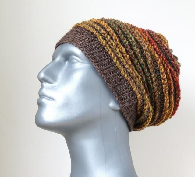 d260eb54d Men&;s Winter Hat in Brown, Autumn Woodland Colours, Chunky Crochet  Beanie