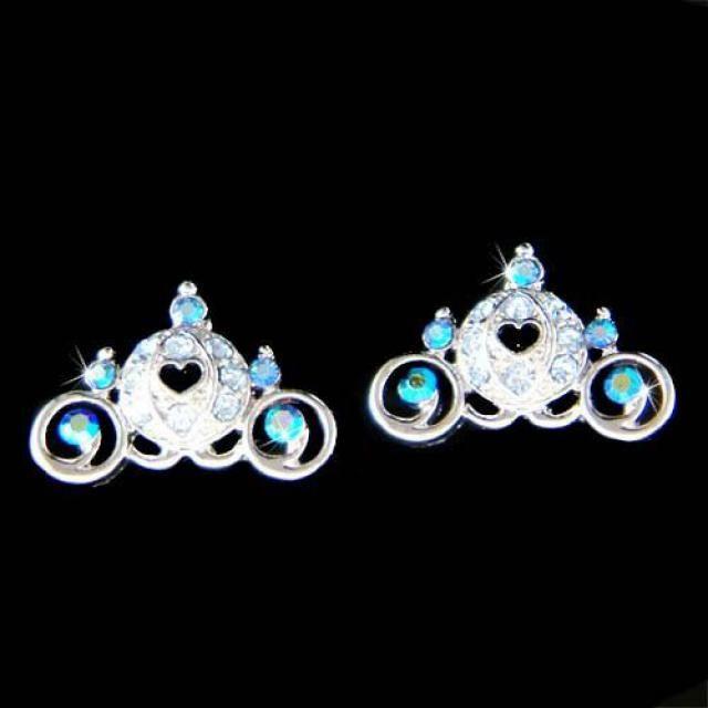 6bca656f2 Swarovski Crystal Royal Blue Cinderella Pumpkin Carriage Coach Fairy tale  Bridal Stud Pierced Earrings Wedding Princess