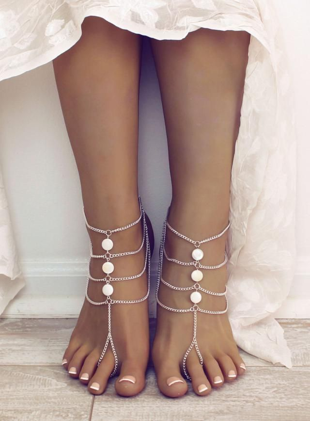 d26fe20205c537 White Bohemian Barefoot Sandals Foot Jewelry white Anklet Bridesmaids Gift Beach  Wedding Sandals Bare Foot Sandals