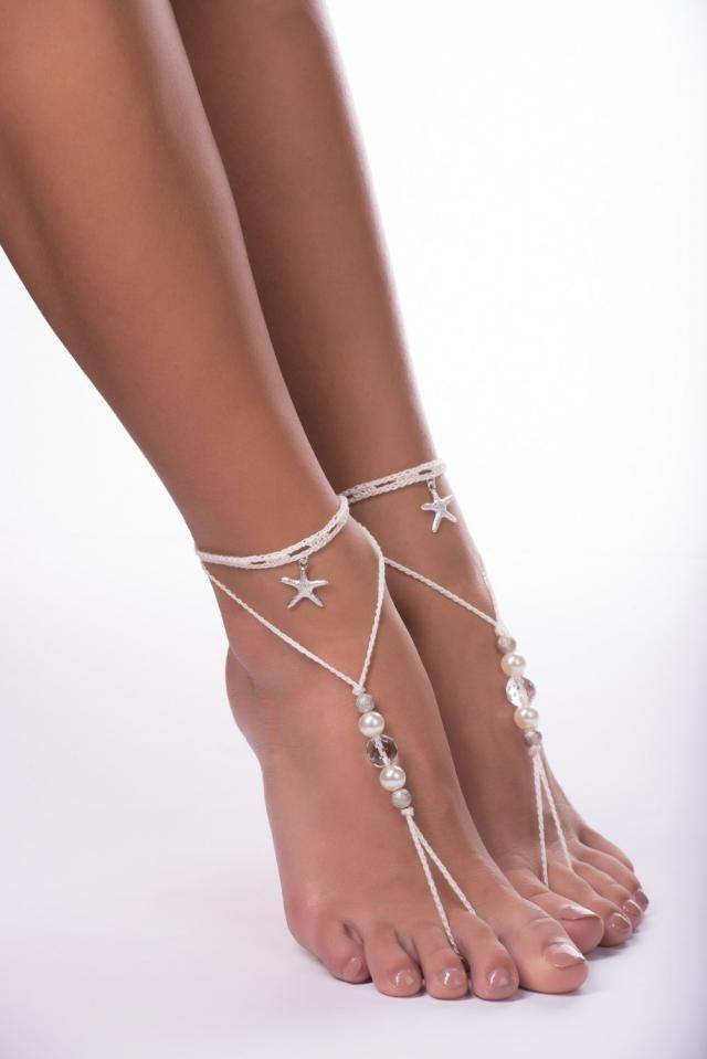 5499de7f51c07a Beaded barefoot sandals Wedding barefoot sandals Beach wedding Bridal  Footless shoes Starfish Barefoot Sandals
