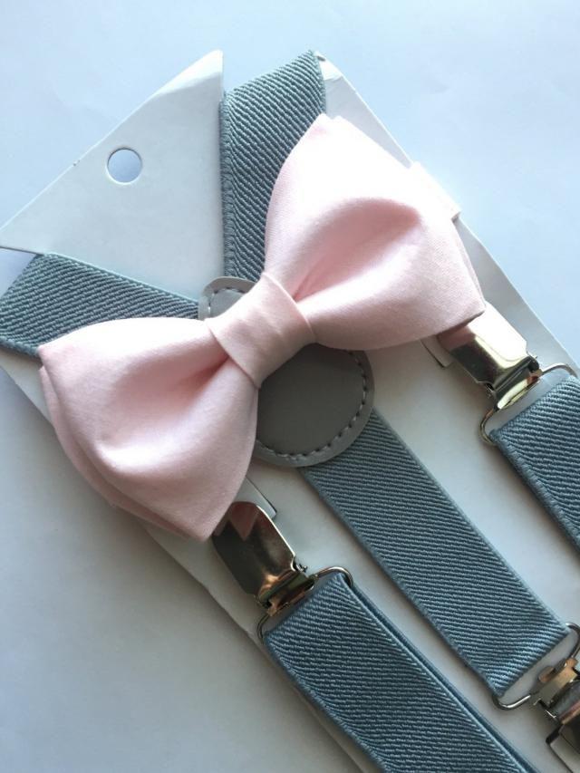 ADULT SET Kids Boys Mens Light Gray Suspenders /& PALE Blush Pink Bow tie Baby