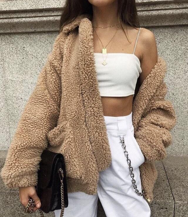 The teddy coat is so cute and beautiful, it's perfect for winter and you can also combine it with a white outfit ❤️❤️❤️…
