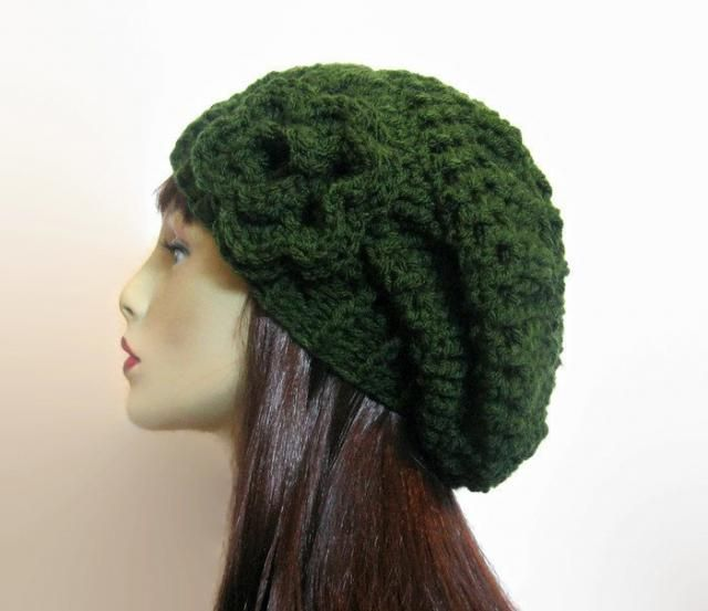 e3c95054372 Crochet Slouchy Hat with flower Olive Knit Slouchy Beanie Dark Green Beanie  Crochet Women amp