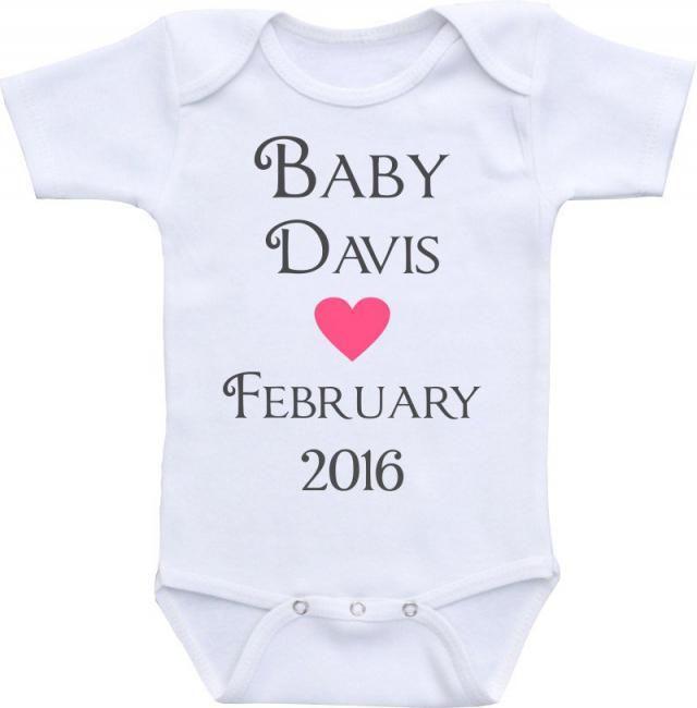 6e4c6fc2c01e8 Pregnancy Announcement Onesies® brand Gerber Onesie Bodysuit. Personalized  birth announcement, Pregnacy Reveal,