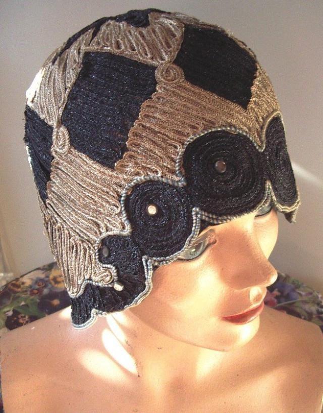 c39dca60ec754 1920s Original Black   Taupe Straw Braid Medallions Helmet Style Cloche  Item Hats 1920-1939