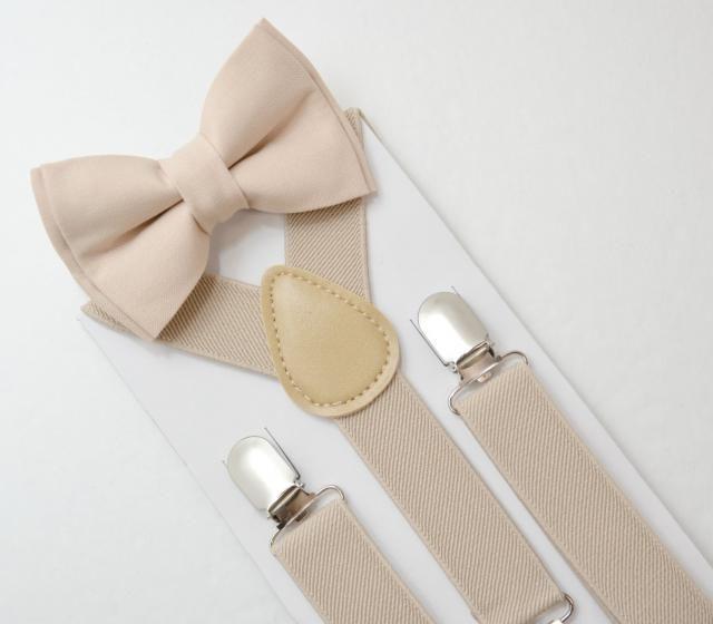 7003f047c9de Suspenders SET 8 months- Adult Kids Mens Baby Boys Light Tan Khaki  Suspenders &. #adult bow tie ...