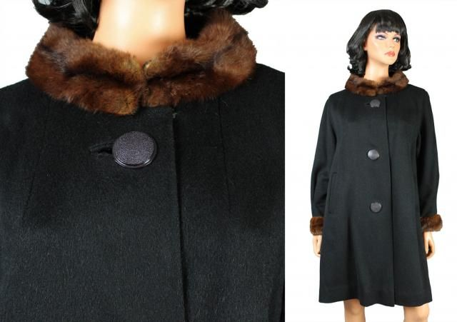 282fe5fa2d6 Vintage Princess Coat Sz L 50s 60s Black Wool Brown Fur Collar Cuffs Swing  Free US
