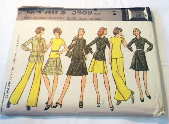 fcb712154 1970s Boho Shirt Top Pleated Skirt Wide Leg Pants Seperates sewing pattern  McCalls 3489 Plus Size