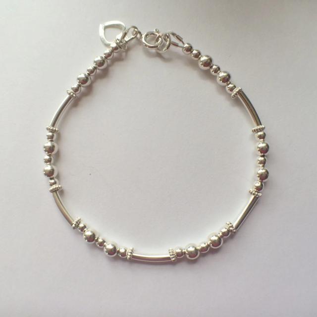 e38c5b53a Sterling Silver Noodle Heart Charm Bracelet Bangle, Silver Noodle Bracelet, Silver  Bead Bracelet,