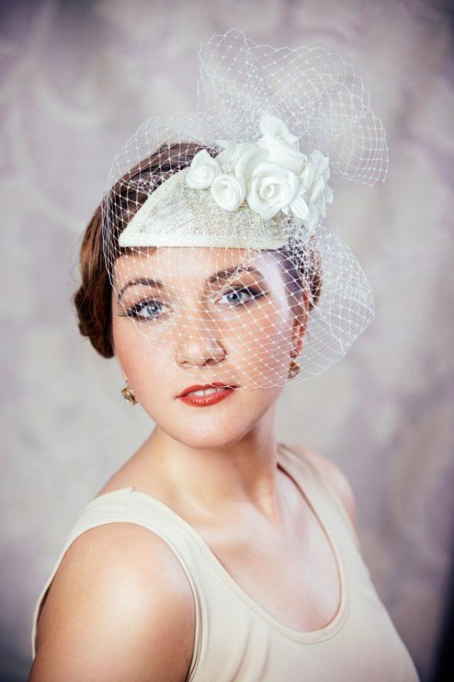 64990660 Cream Bridal Fascinator with Silk Roses and Birdcage Veil - Bridal  Fascinator - Ivory Wedding Hat