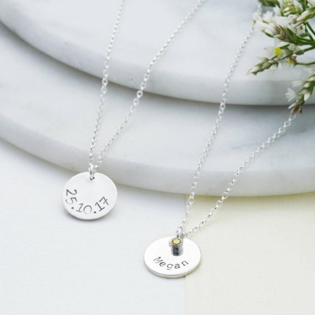 bf12acae0ef9ee Name Necklace in Sterling Silver | Handmade Birthstone Disc Necklace |  Personalised Handstamped Birthstone Necklace
