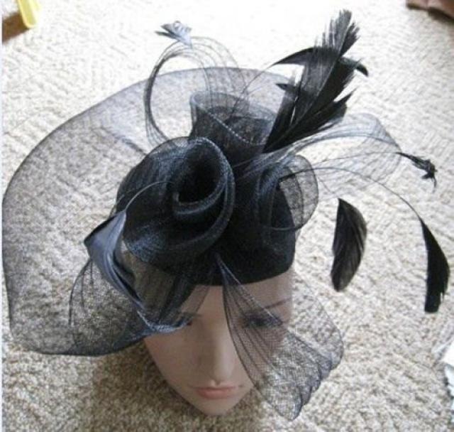 39339ed280be4 Black Net Fascinator Hat Veil on Clips - Wedding Ascot Races Hair  Accessories