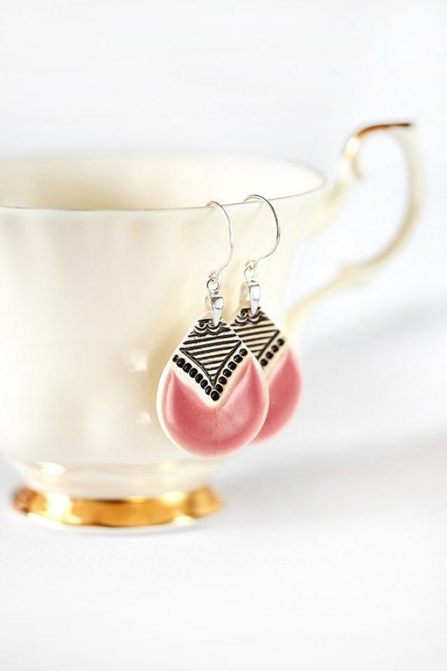 Pink earrings Ceramic earrings Pink dangle earrings Clay earrings handmade pottery Sterling silver Ceramic jewelry Past…