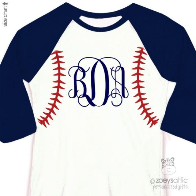 8ce135bbb Baseball seam traditional monogram personalized raglan shirt - adorable  custom monogrammed shirt