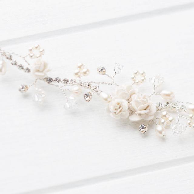 Diamante Leaf Alice Hair Band wth Brown /& Blue crystals Wedding Party Prom Tiara
