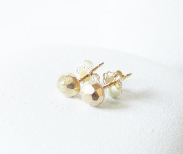 9971bd3c7 14 kt gold stud earring, solid faceted gold post earring , simple elegant  and rustic