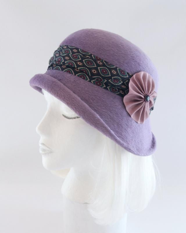be3efeb3 Lavender Cloche. Asymmetrical 1920s Style Flapper Hat. Vintage Style  Millinery w/ Silk Tie
