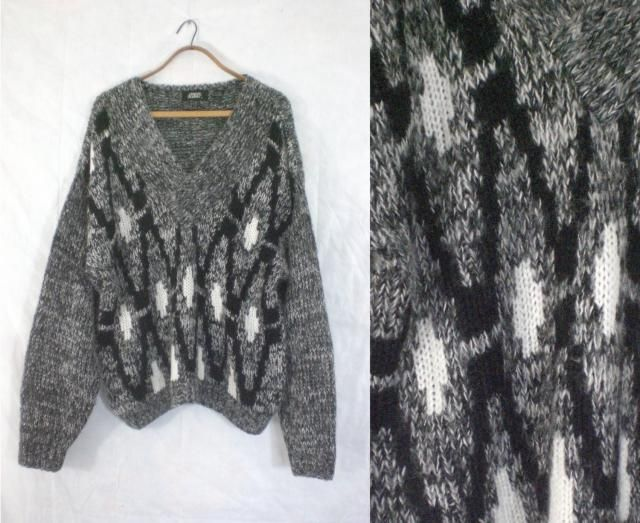 ffbaf535dbedd7 mens wool sweater. mens v neck sweater. mens chunky sweater. mens sweater  xl. #80s 1980s sweater #80s black ...