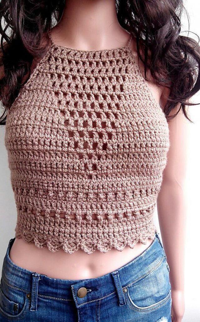 373af33e581 BEIGE TOP CROCHET Summer Festival Top Corset Hippie Bustier Knit Sexy  Crochet Bra Halter Top