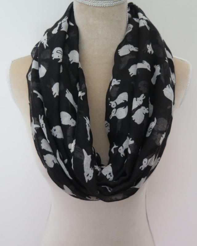 Infinity Scarf Jersey Or Chiffon White Bunny Rabbit Unisex Fashion Loop Scarves