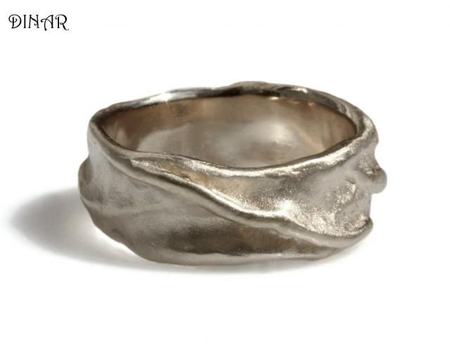 58374ebbd84d3 14k white Gold wedding band, brushed gold band, thick men band, rustic band