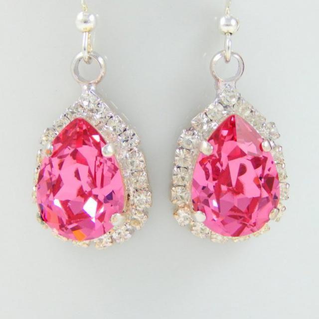 d5a2102db Pink Swarovski Earrings/Valentine Jewelry/Earrings Crystal/Rhinestone  Earrings/Earrings Pink/