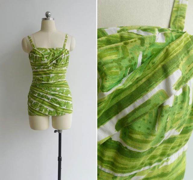 fb5e92a355 Vintage 50&;s Rose Marie Reid &;Draped Sheath&; Green. #50 s  swimsuit ...