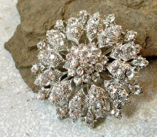 30497b78e51 Silver Clear Rhinestone Brooch Flatback Embellishment or Pin Large Rhinestone  Flower broach for Wedding Brooch Bouquet