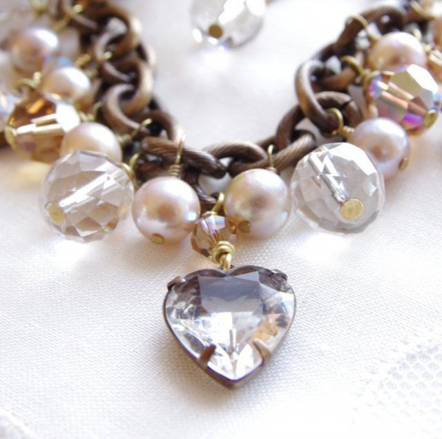 b05919aca Charm Bracelet Gemstone Pearl Bracelet Swarovski Crystal Glass Heart Rock  Quartz Crystal Freshwater Pearl Brass Bronze