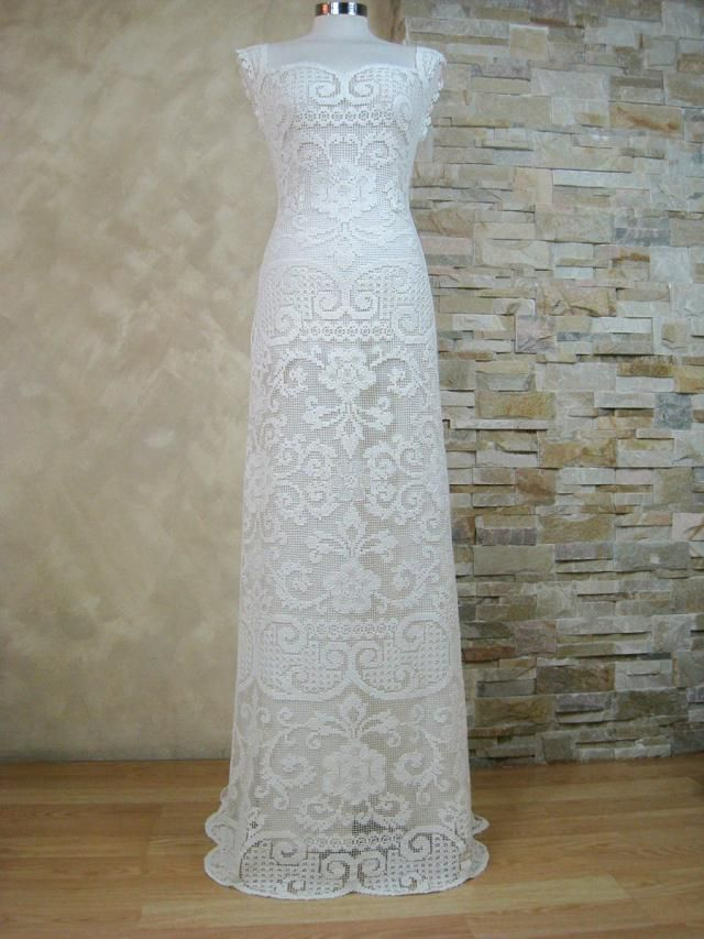 445b6c37ce43 Exclusive ivory lace wedding dress, bridal dress made from vintage knotted  filet lace, boho